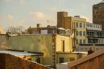 Rooflines of old city Philadelphia at dusk