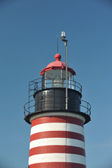 The colorfully striped Quoddy Lighthouse