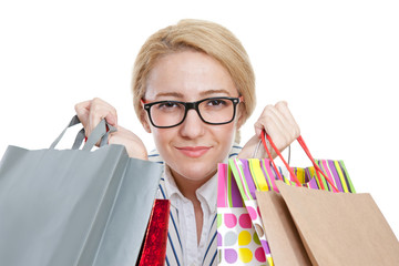 Young woman shopping with bags