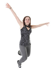 Full length studio photo of attractive woman jumping in air with