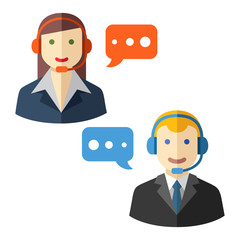 Male and female call center avatar icons