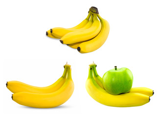 collection of bananas set isolated on white background