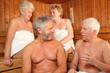 canvas print picture - Senioren in der Sauna 2