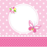 Fototapety pink butterfly baby girl greeting card