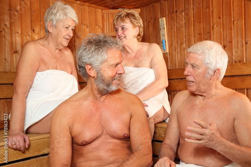 canvas print picture Senioren in der Sauna 2