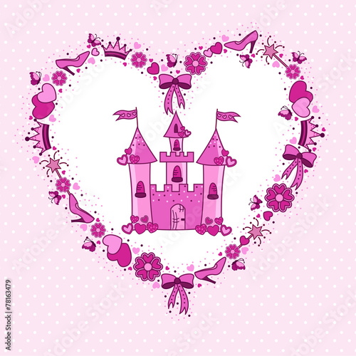 Poster Pony Pink heart of items for the princess from the castle