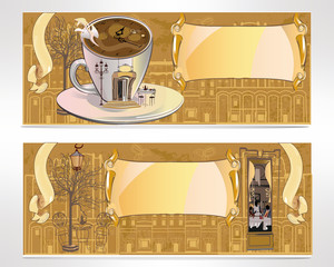 Set of cafe banners, decorated with coffee cup