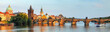 Leinwanddruck Bild - Panorama of Charles bridge in Prague, Czech republic