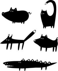 Set of funny black animals