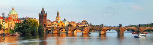 Leinwanddruck Bild Panorama of Charles bridge in Prague, Czech republic