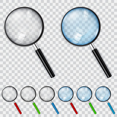 Set of magnifiers with transparent lens