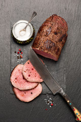 Roast beef with pepper and salt