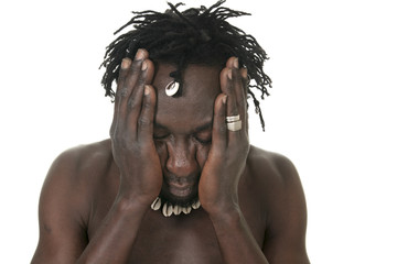 A sad african over a white background