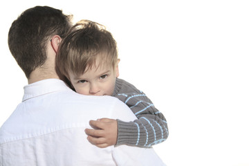 father holding Tired child Isolated on the White Background