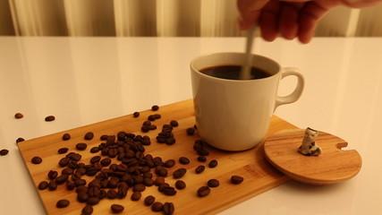 Man hand making a coffee