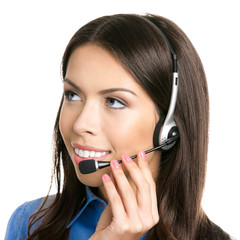 Cheerful customer support phone operator in headset, isolated