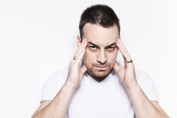 A man with a headache problem over white