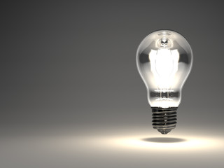 Electric Bulb On Black Text Space