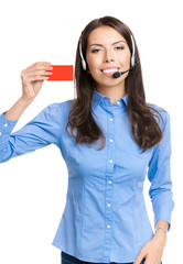 Smiling support phone operator showing red card, on white