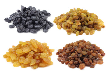 a handful of sweet raisins on a white background