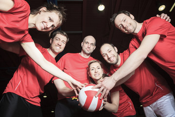 A big team of volleyball wearing in red