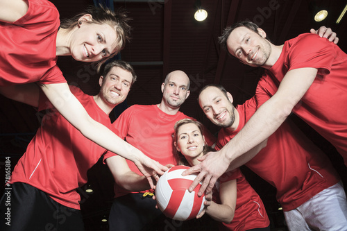 canvas print picture A big team of volleyball wearing in red