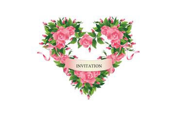 Приглашение. Розы в форме сердца