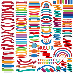 Mega collection of retro ribbons and labels
