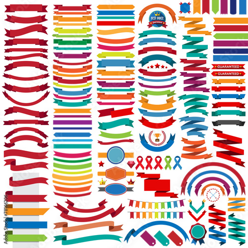 Mega collection of retro ribbons and labels poster