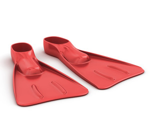 Red flippers close-up