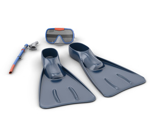 Scuba snorkeling blue diving set