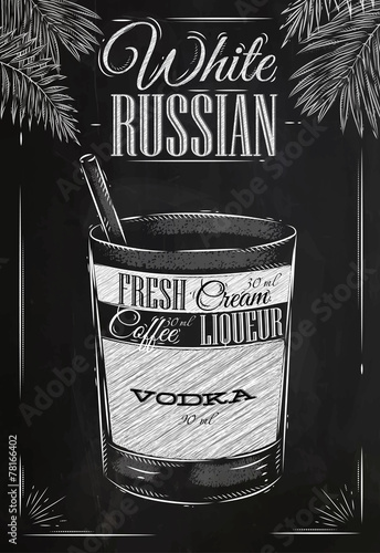 White russian cocktail chalk - 78166402