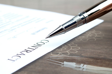 close up view of  contract  form on the desk in the office