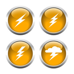 Set of buttons for web, lightning, Electricity, storm. Vector.
