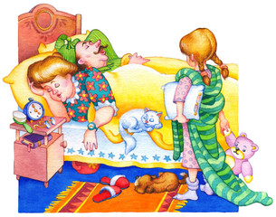Watercolor illustration. Children wake up parents