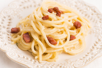 Spaghetti carbonara, a typical italian dish