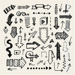 Hand drawn vector doodle arrow collection isolated
