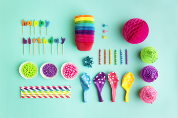 Collection of birthday party objects