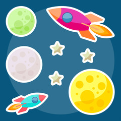 cosmic background with bright colored planets and spaceships