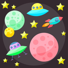 Bright colored vector space cover with planets and spaceships