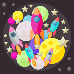 Bright colored space background with planets and spaceshipes