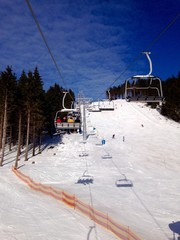 ski and snowboard area in the mountains