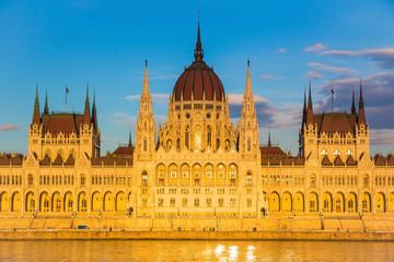 Budapest Parliament Building illuminated before sunset, Hungary