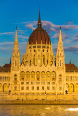 Budapest Parliament Building illuminated during sunset, Hungary