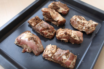 Pieces of marinated pork ribs