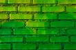 canvas print picture - Mauer mit gruenen Ziegeln