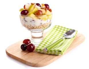 Healthy breakfast - yogurt with  fresh grape and apple slices