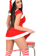 Attractive Young Pin Up Woman in Santa Costume