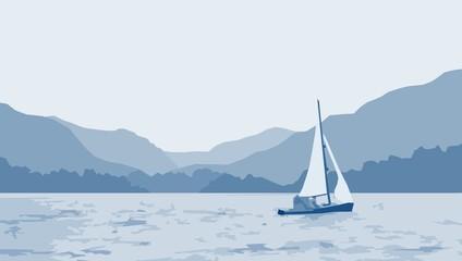 sailboat lake scene