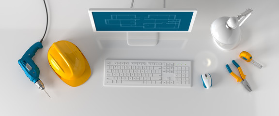 computer, table lamp, helmet and construction tools on white bac
